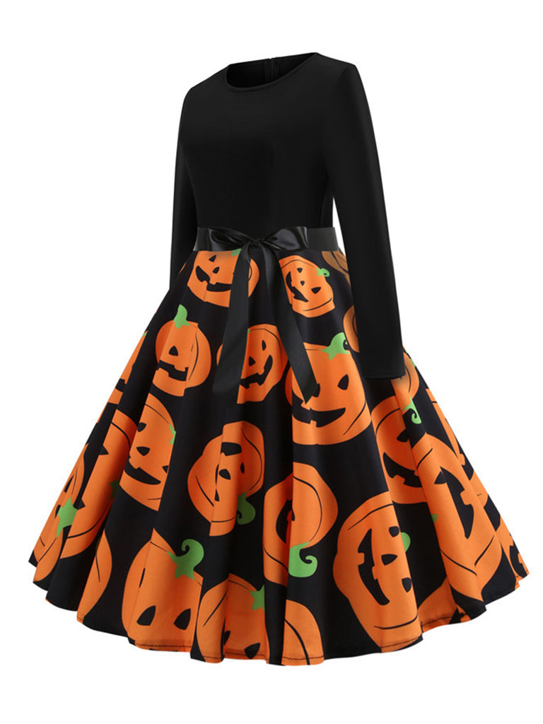 Halloween Long Sleeves Dress Pumpkin Print Patchwork Midi Dress