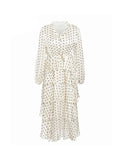 Casual Dress Polka Dot Long Sleeve Elegant Ruffled Dress