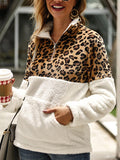 Fleece Sweater Fashion Leopard Patchwork Zipper Pullover