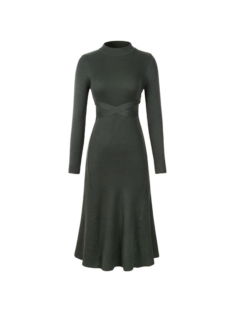 Sweater Dress Bow Sashes O Neck Knitted Midi Dress