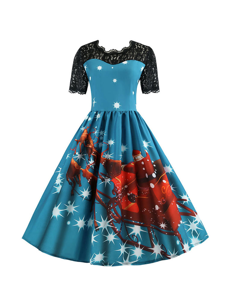 Christmas Dress Vintage Short Sleeve Lace Dress