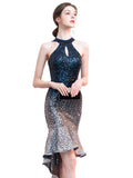 Women Prom Dress Halter Elegant Sequined Mermaid Dress