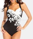 White Printing Plus Size Swimwear For Women One-Piece Bathing Suit For Pool Beach Wear
