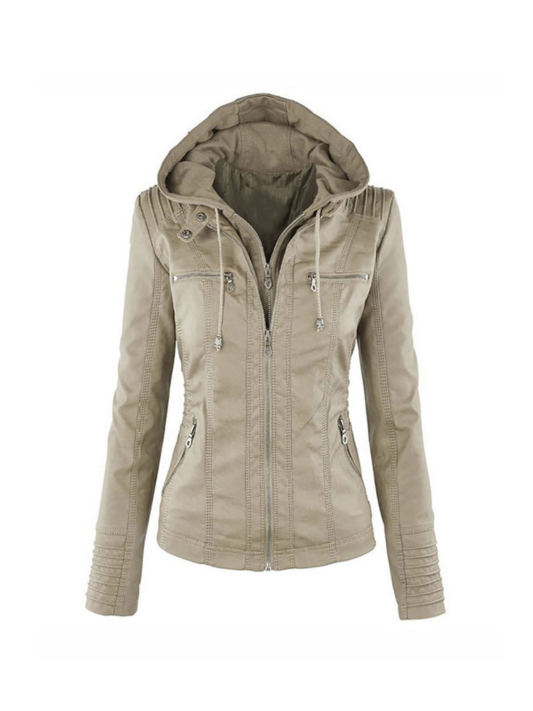 Faux Leather Jacket Casual Basic Waterproof Windproof Coat