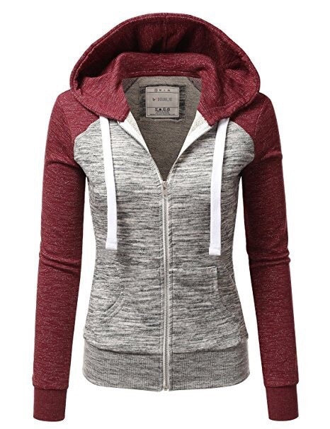 Women's Sweatshirt Zipper Fashion Color Block Slim-fit Hooded Sweater Coat