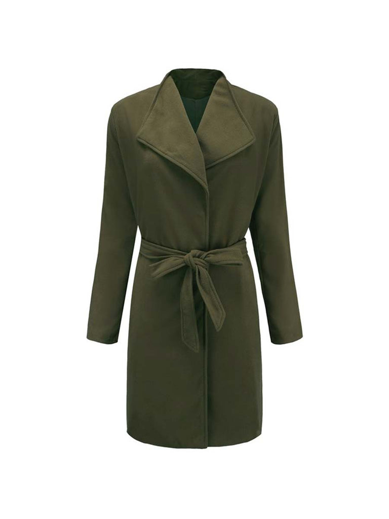 Ladies Outwear Fashion Straight Lace-Up Overcoat