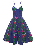 Cute Spaghetti Strap A-Line Dress Floral Zipper Womens Dress