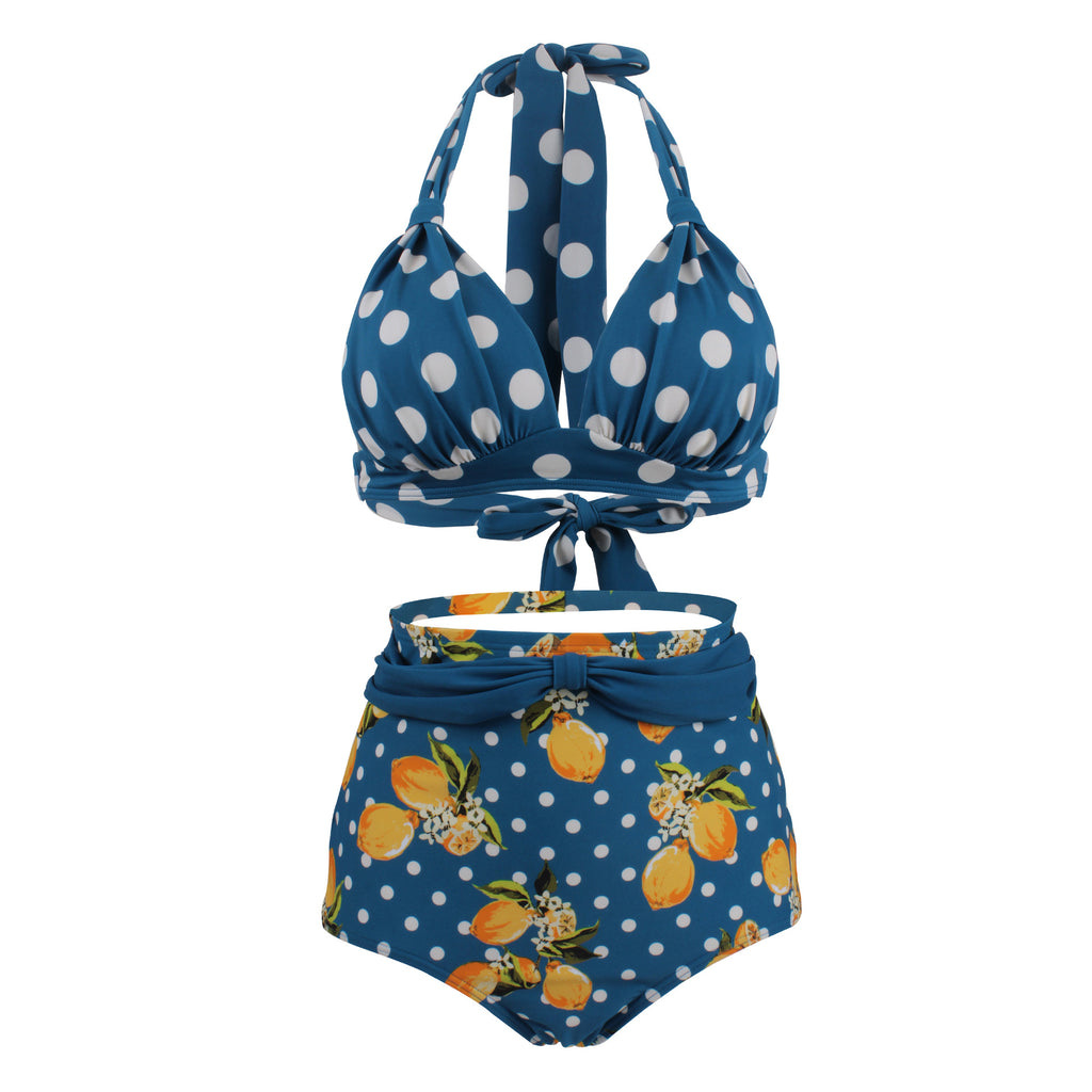 Polka Dot High Waist Swimsuit Female Bandage Swimwear Without Steel Ring