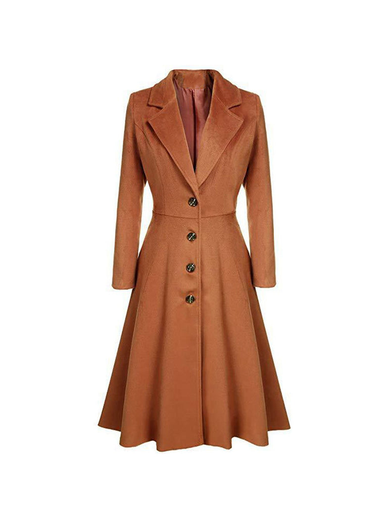 Retro Overcoat Slim Lapel Pleated Hem Button Long Trench Coat