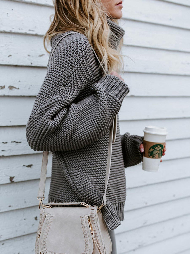 Casual Sweater Retro Turtleneck Loose Knitted Long Pullover