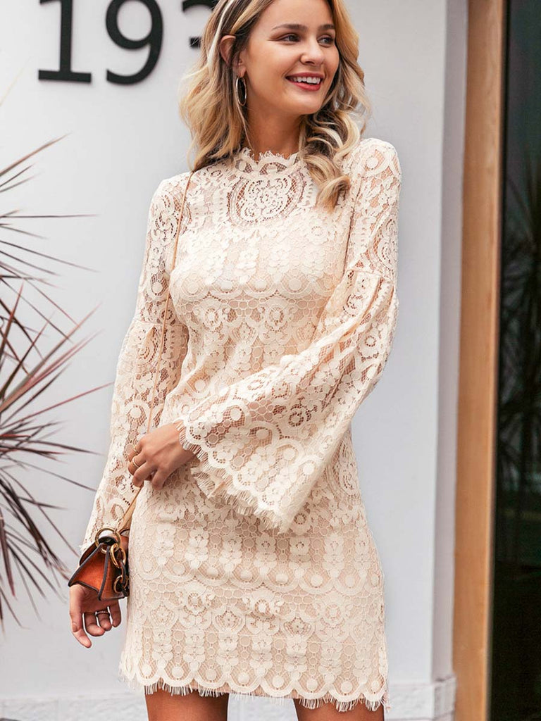 Ladies Dress Sexy Flare Sleeve Lace Embroidery Dress