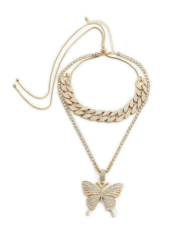 Cuban Link Chain Necklaces Rhinestones Jewelry Retro Sets Butterfly Wings Necklaces