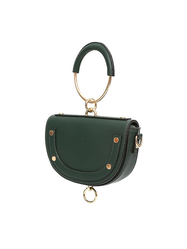 Women Saddle Bag Half-moon Mini Circle Ring Tote Bag