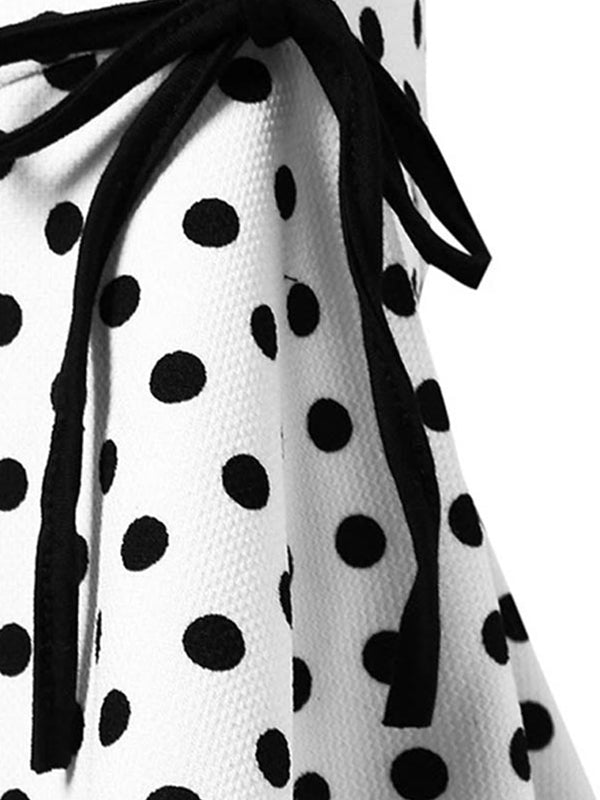 2Pcs Top Seller Vintage Bowknot Top & Polka Dot Asymmetric Skirt
