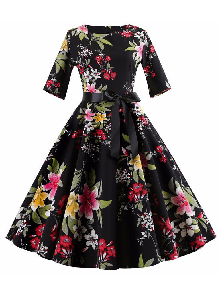 Women Vintage Pinup Dress Floral Printed Half Sleeve Big Swing Dress