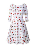 50s Vintage Dress Boat Neck 3/4 Sleeve Lipstick Print A-line Dress