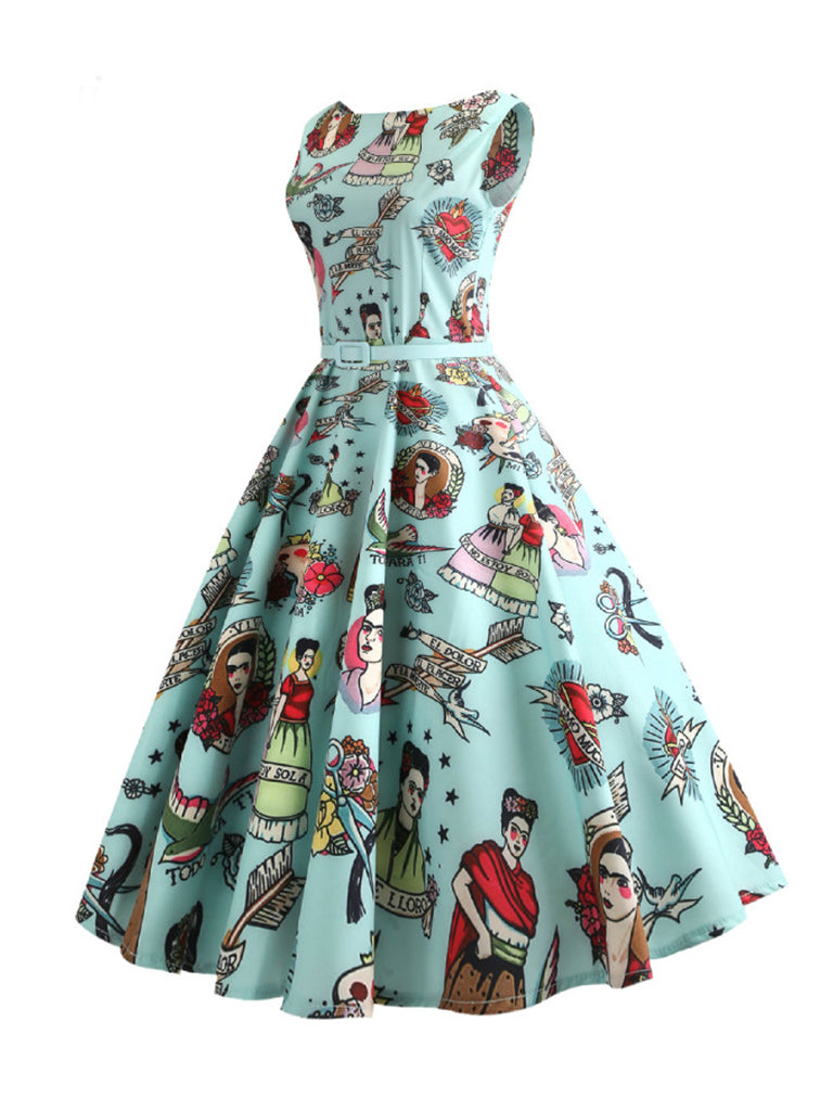 50s Retro Swing Dress Opera Floral Print A-Line Party Dress With Belt