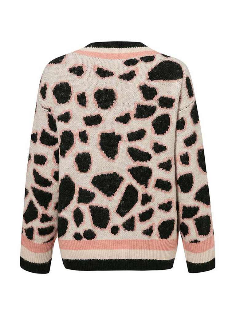 Casual Outwear Leopard Print Knitted Short Cardigan Sweater