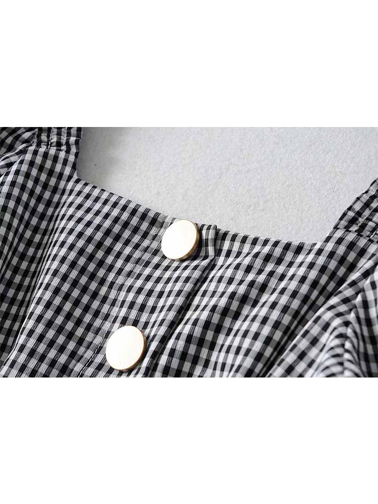 2Pcs Top Seller Square Collar Blouse  & Hepburn Style Pleated Skirt