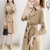 Women Solid Color Jacket Casual Cardigan Button Trench Coat