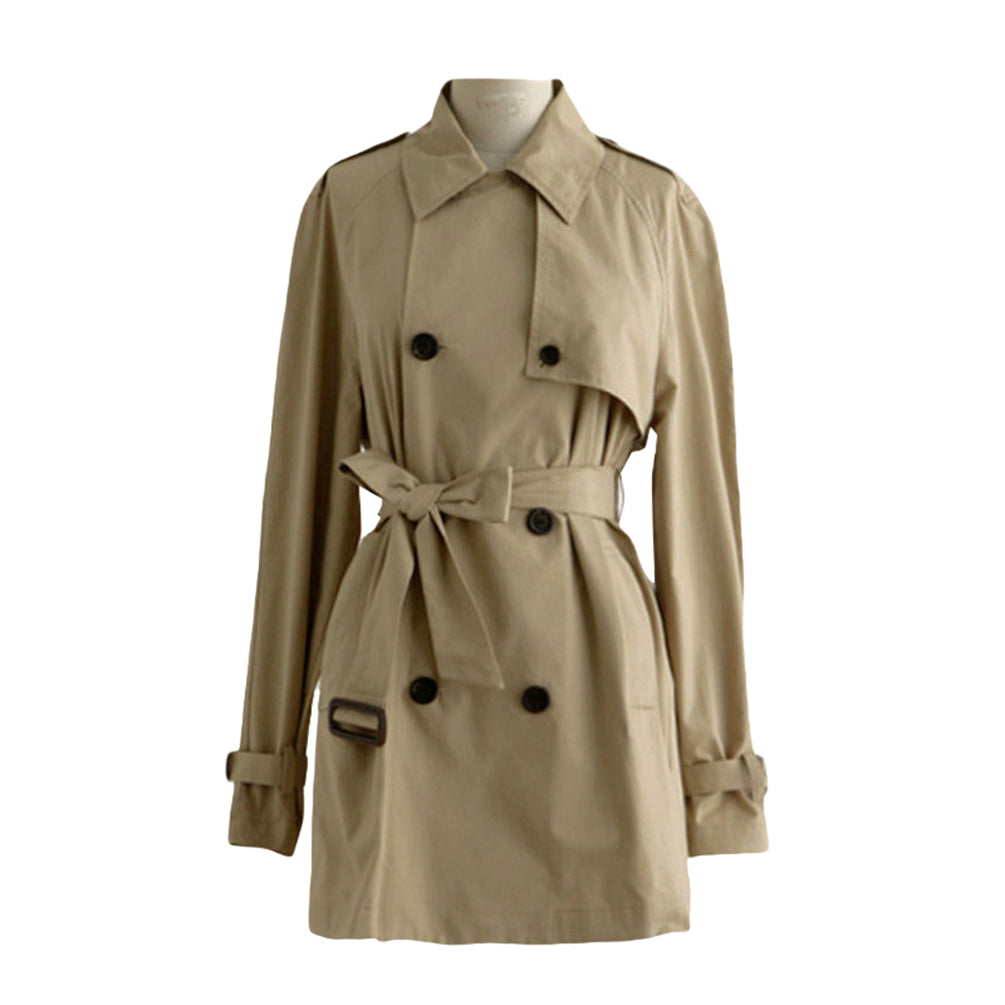 Ladies Lapel Coat Elegant Button Trench Coat With Waist Belt