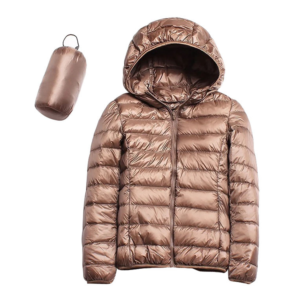 Down Jacket Long Sleeve Plain Hooded Ultra-Lightweight Short Coat