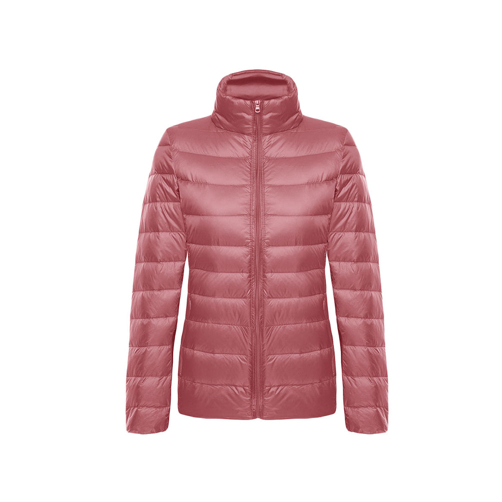 Plain Coat Long Sleeve Ultra-Lightweight Short Quilted Down Jacket