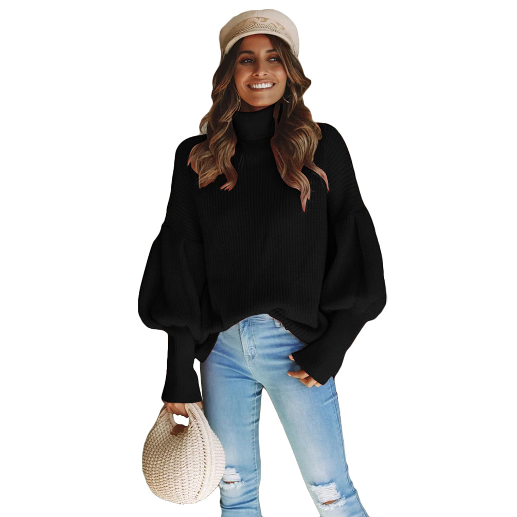 Casual Sweater High Collar Long Lantern Sleeves Pullover