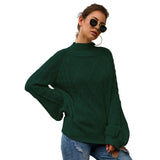 Long-Sleeved Sweater Loose Style Monochrome Half-High Collar Knitwear