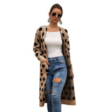 Long Coat Casual Style Polka Dot Long-Sleeved Cardigan
