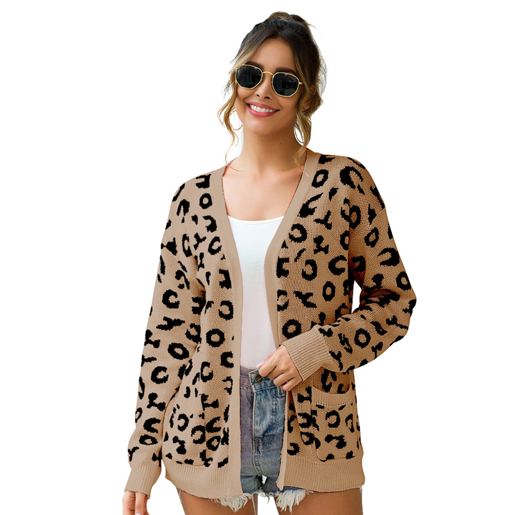 Loose Style Monochrome Leopard Long-Sleeved Loose-Fitting Sweater