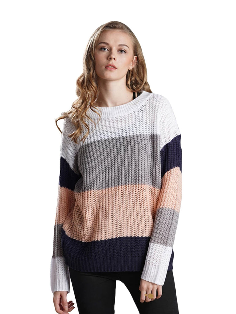 Casual Jumper Round Neck Striped Loose Sweater