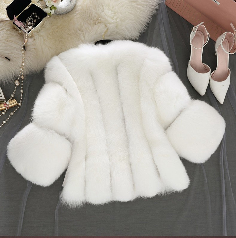 Women Winter Jacke  Soft Solid Color Faux Fur Short Coat