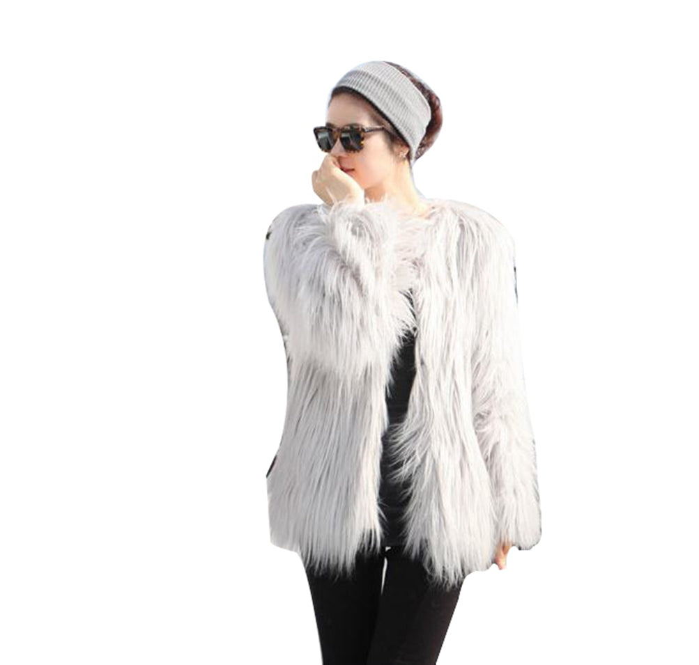 Winter Outerwear Open Front Fluffy Faux Fur Short Coat