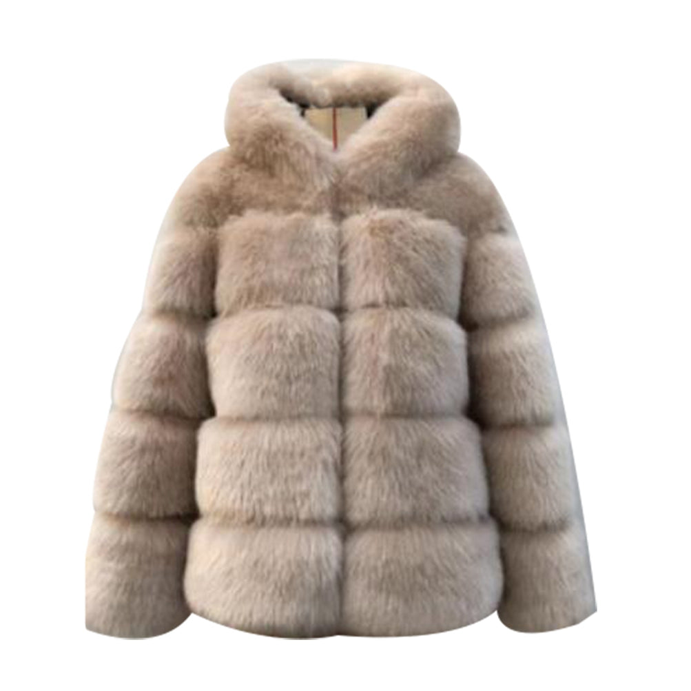 Hooded Coat Thicken Fluffy Faux Fur Jacket