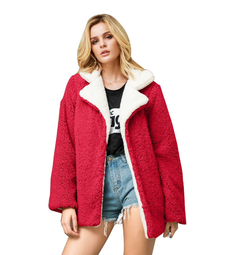 Casual Outerwear Ladies Lapel Fleece Coat