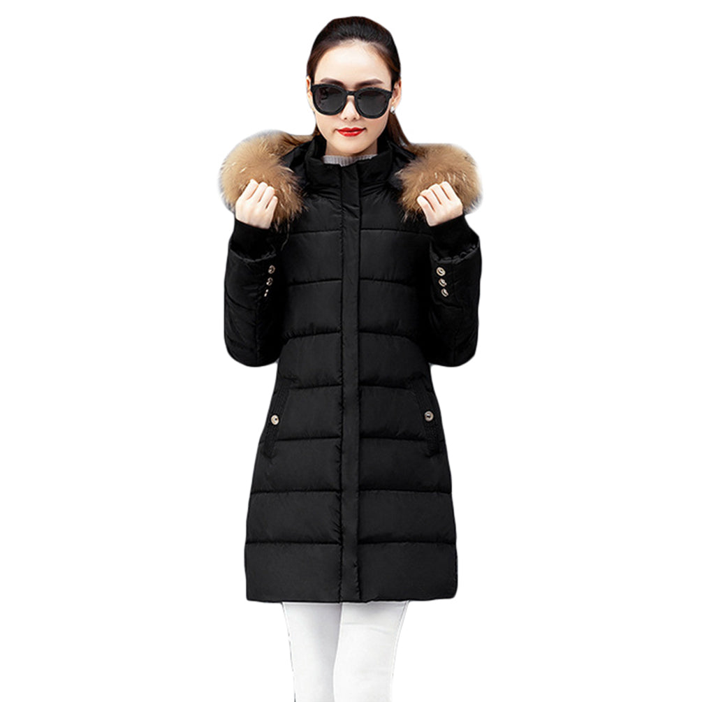 JSY Women Thick Faux Fur Collar Jacket Outwear Quilted Winter Hooded Parkas Coats