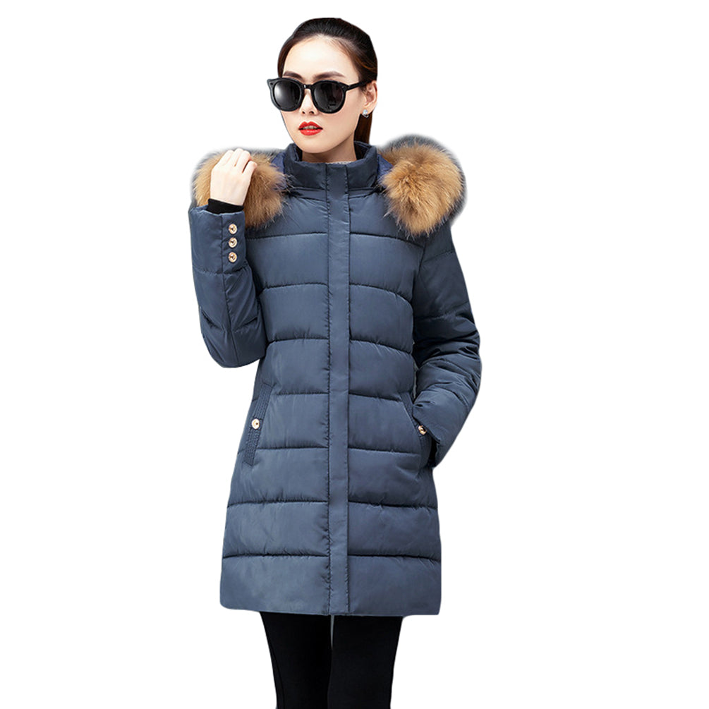 Hooded Quilted Coat Thicker Winter Slim Zipped And Button-Down Jacket