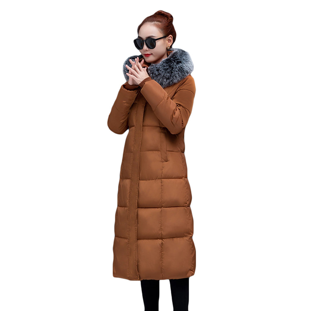 Long Hooded Jacket Solid Color Oversize Quilted Warm Windproof Coat