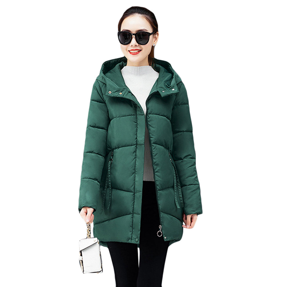 Fashion Long Hooded Jacket Solid Color Slim Warm Quilted Trench Outwear