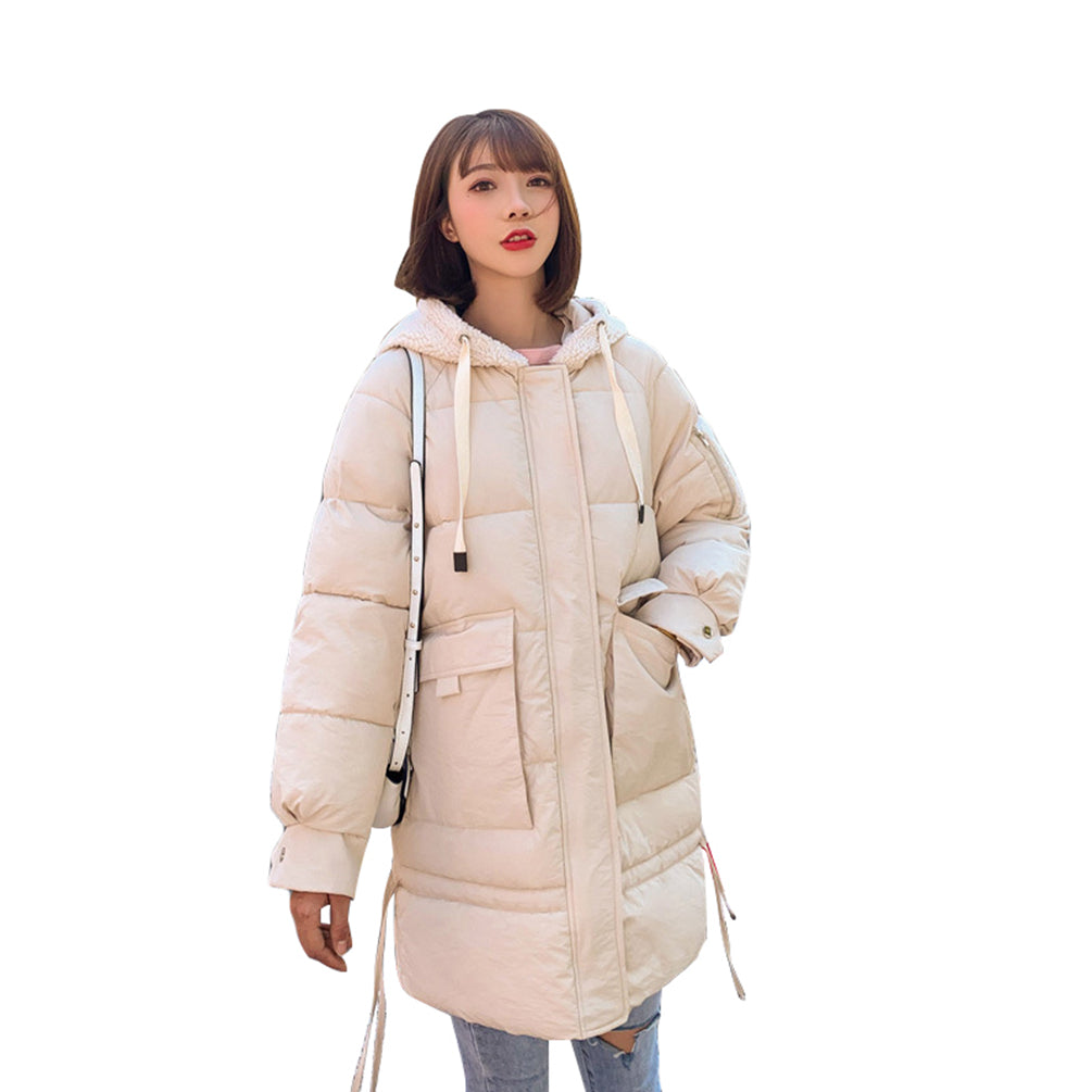 Over-Size Light Jacket Large Pockets Hooded Windproof Quilted Coat