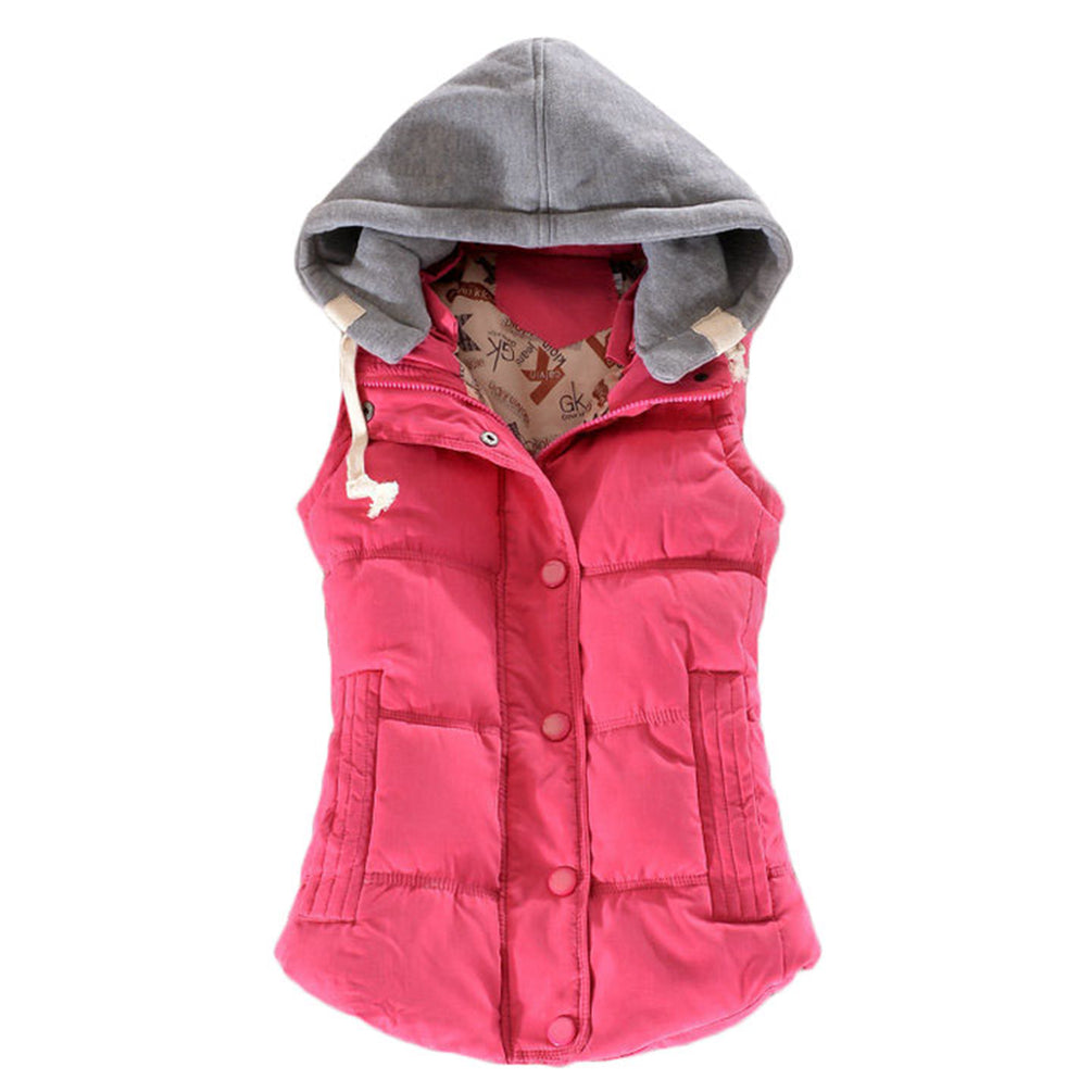 Warm Vest Gilet Over-Size Sleeveless Quilted Hooded Outwear