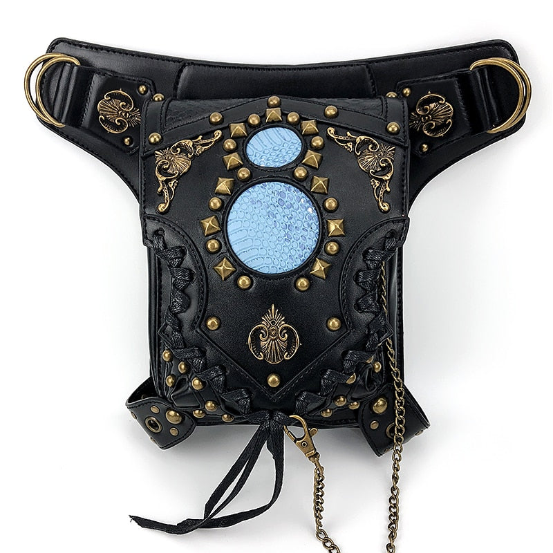 Womens Steampunk Bags Gothic Messenger Bag Vintage Rivet&Chain Leg Bag