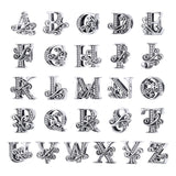 BAMOER 2019 NEW 925 Sterling Silver Vintage A to Z Clear CZ 26 Letter Alphabe Bead Charms Fit Bracelets DIY Jewelry BSC030