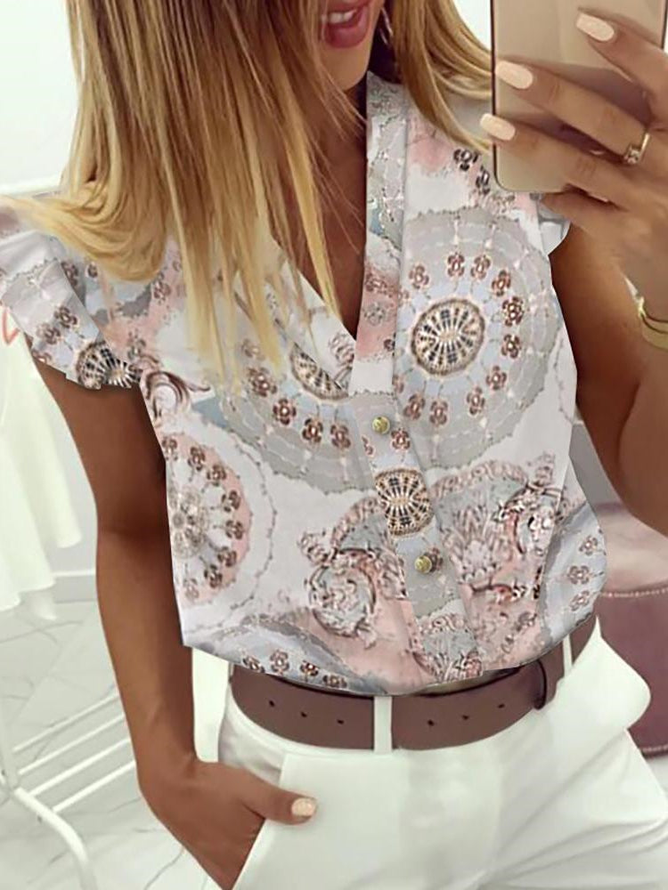 Elegant Work Wear OL Leisure V-neck Print Ruffles Shirt