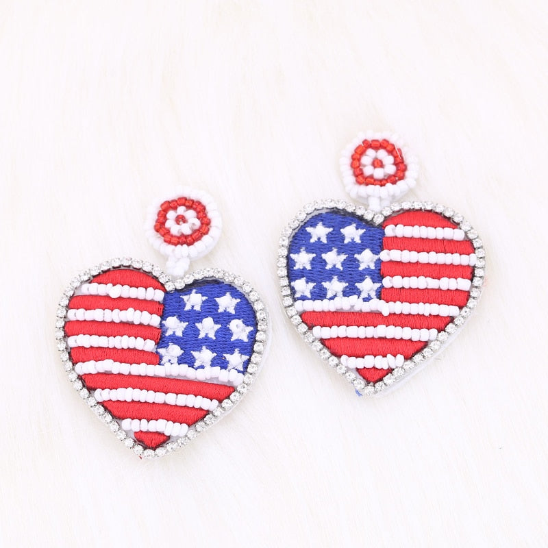 Handmade Beaded Tassel Drop Earrings American Flag Pendant Hanging Earrings Jewelry