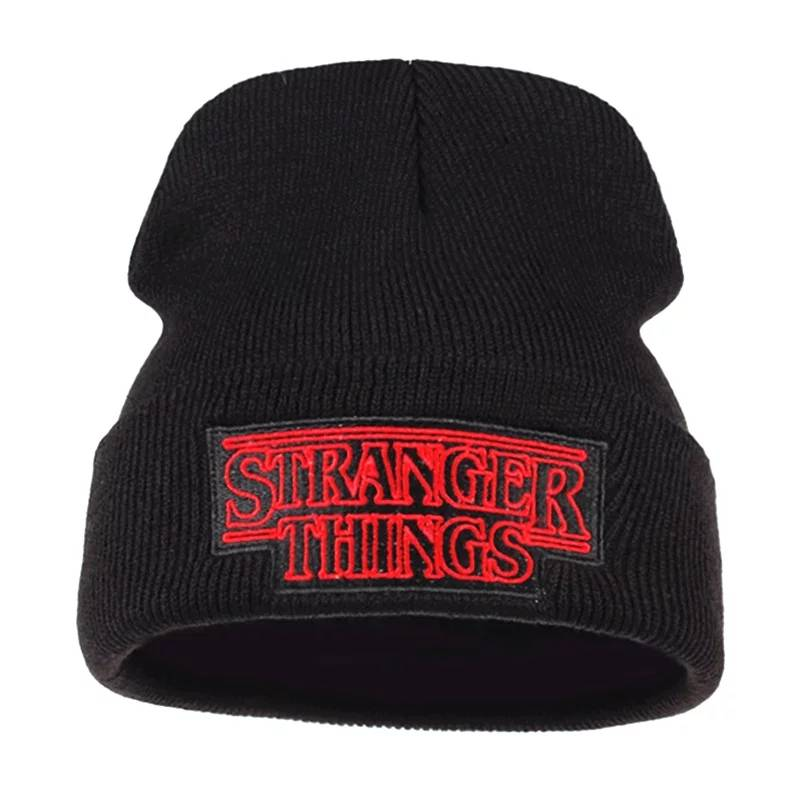 Stranger Things Hat Warm Skullie Beanie Hip Hop Embroidered Black Knit Cap