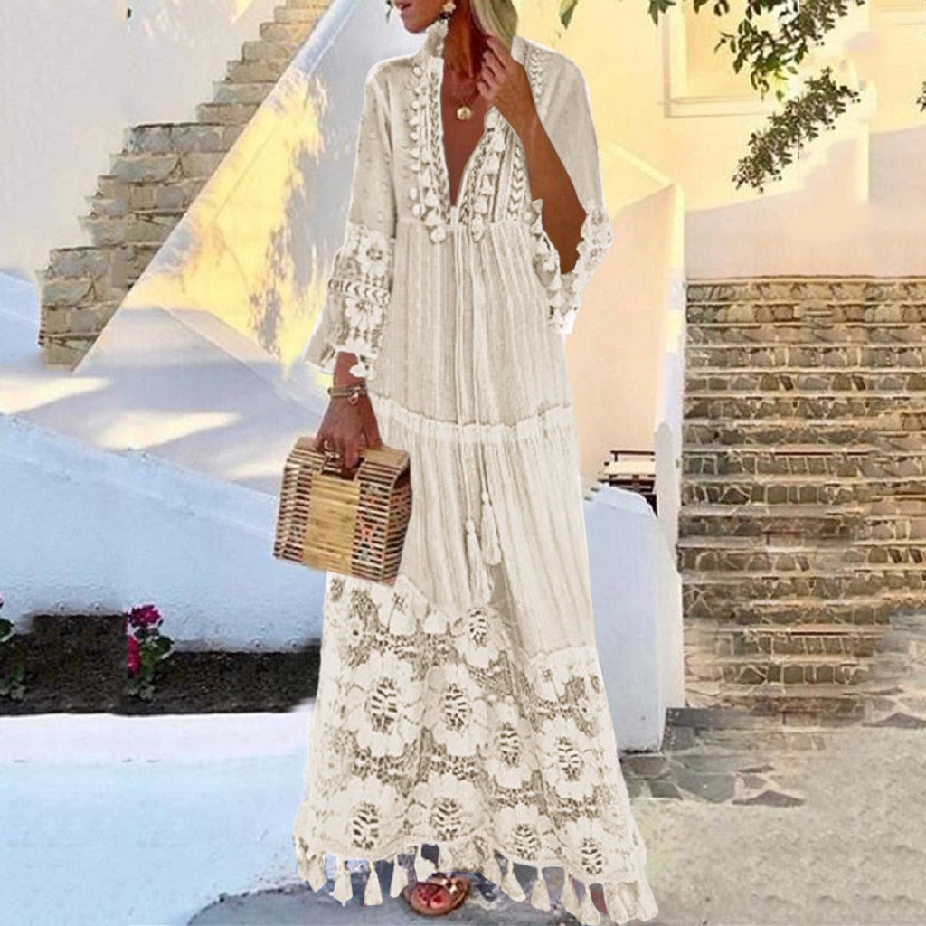V-Neck Solid Color Lace Tassel Long Dress