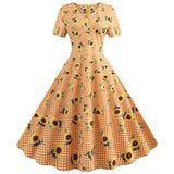 Vintage Dress 50s Print Short Sleeve Casual Dress