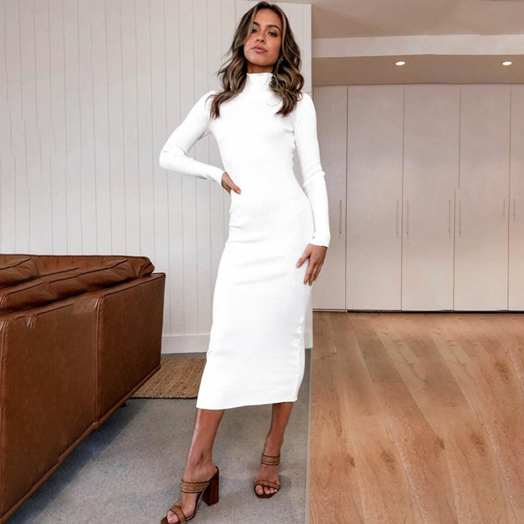 Women Cotton Knitted Maxi  Winter Dress Turtleneck Long Sleeve White Black Pink Long Bodycon Dresses Party Slim Dress